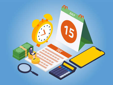 Tax Day Reminder Concept. USA Tax Deadline, New Extended Date for IRS Federal Income Tax Returns: 15 July 2020