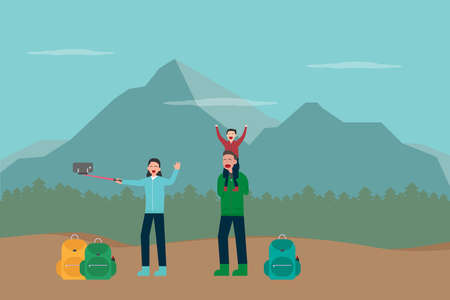 Hiking vector concept: Young parents and little boy take selfie photo together while hiking in the mountain