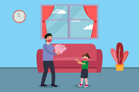 Father cartoon character giving a piggy bank to his daughter at home while wearing face mask