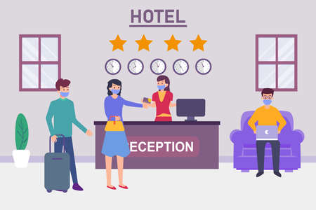 Hotel vector concept: Young couple booking hotel room in receptionist while paying with card Ilustración de vector