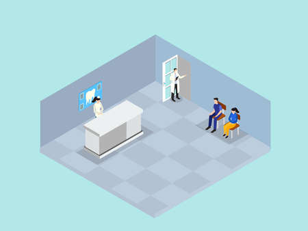Patient queuing in the dental clinic while sitting in the waiting room. Isometric vector concept