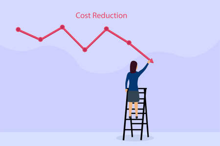 Businesswoman drawing cost reduction chart 2D flat vector concept for banner, website, illustration, landing page, flyer, etc