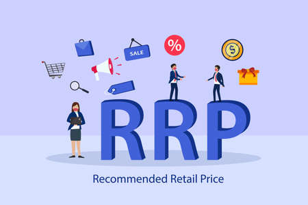 Recommended Retail Price RRP 2D flat vector concept for banner, website, illustration, landing page, flyer, etc