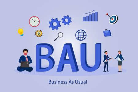 Business as usual (BAU) 2D flat vector concept for banner, website, illustration, landing page, flyer, etc