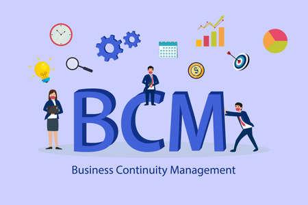 Business continuity management BCM 2D flat vector concept for banner, website, illustration, landing page, flyer, etc Vettoriali