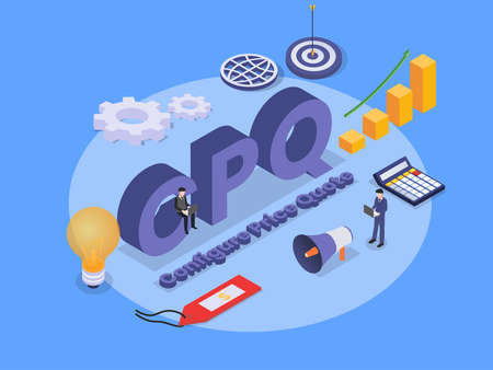 configure price quote (CPQ) isometric 3d vector concept for banner, website, illustration, landing page, flyer, etc.