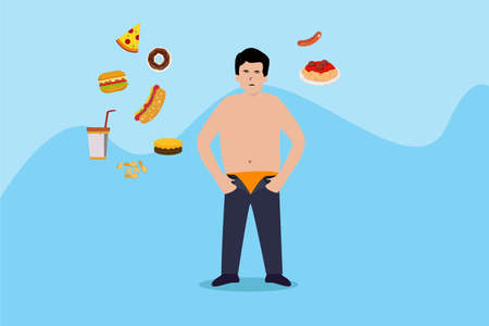 Diet vector concept: Fat man with junk food over his head while standing with his trouser