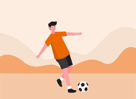 Teenager plays soccer ball 2D flat vector concept for banner, website, illustration, landing page, flyer, etc.