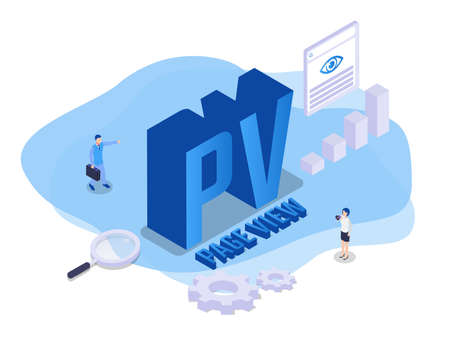 Page View (PV) isometric 3d vector concept for banner, website, illustration, landing page, flyer, etc.
