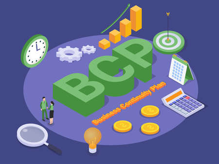 Business Continuity Plan (BCP) isometric 3d vector concept for banner, website, illustration, landing page, flyer, etc.
