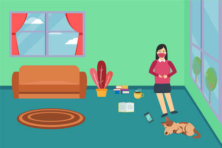 Quarantine vector concept: Young woman feeling bored doing quarantine at home while sitting on the floor