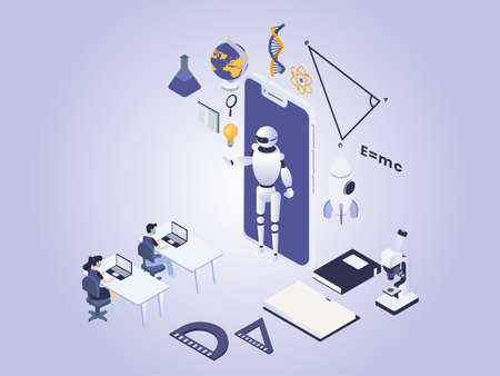 Artificial intelligence robot in education vector concept. Robot teaching and giving online education to students on mobile phone