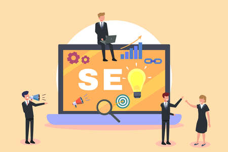 Search Engine Optimization vector concept. Business team discussing together with SEO text on the laptop computer