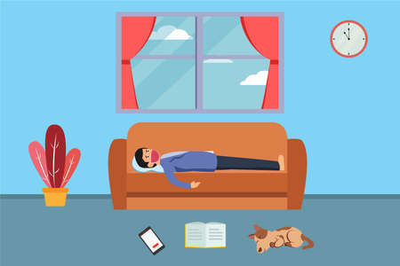 Quarantine vector concept: Young man lying on the sofa with face mask while feeling bored doing quarantine at home
