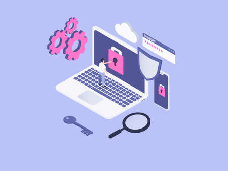 Internet security isometric vector concept. Man opens locked laptop screen by pressing padlock button