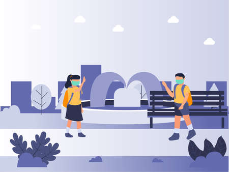virus prevention vector concept. Two students wearing face mask and waving hands to each other at park