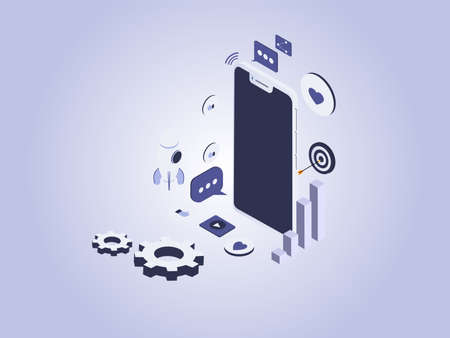Social media marketing isometric vector concept. Mobile phone with social media symbols, rocket, business graph, and gears.