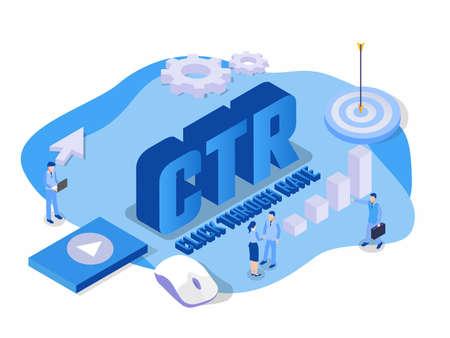Click through rate (CTR) isometric 3d vector concept for banner, website, illustration, landing page, flyer, etc. Ilustração