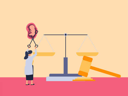 Abortion vector concept: Doctor aborting an embryo with gavel and justice scales background Vectores