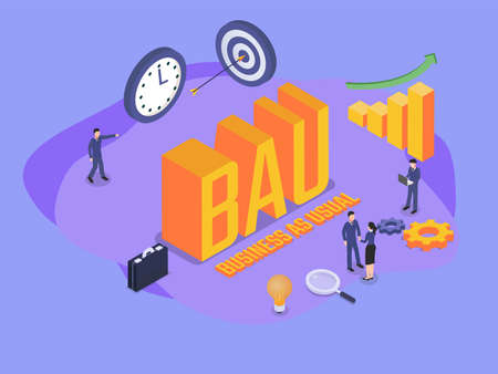Business as usual (BAU) isometric 3d vector concept for banner, website, illustration, landing page, flyer, etc. Vektoros illusztráció