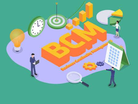 Business continuity management BCM 3D flat isometric vector concept for banner, website, illustration, landing page, flyer, etc.