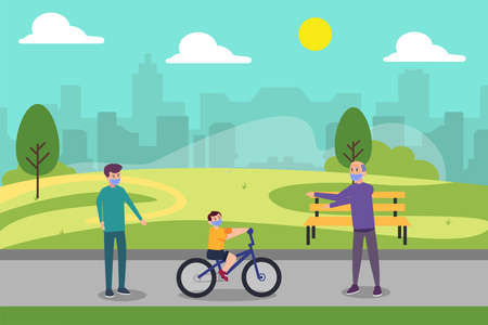 Three generations family in new normal vector concept: Little boy learning to ride bicycle with his father and grandfather in the park while wearing face mask Vektorgrafik