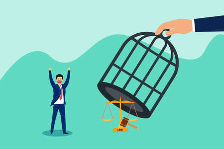 Law free vector concept: Businessman feeling free from law while wearing face mask and come out from birdcage