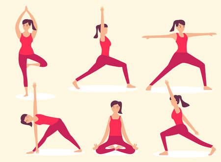 Woman with yoga positions 2D flat vector concept for banner, website, illustration, landing page, flyer, etc.