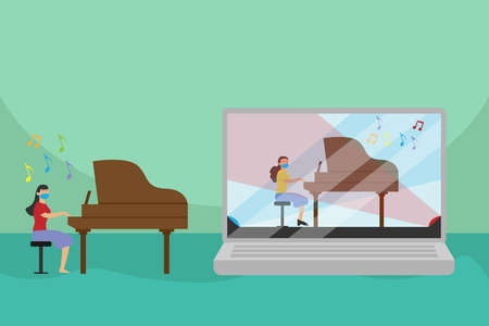Online class vector concept: Young woman watching tutorial of playing piano on her laptop while wearing face mask