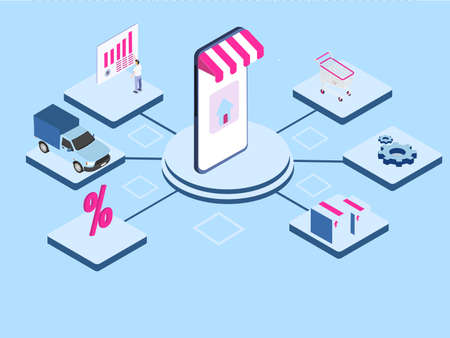 Online store management vector concept. Mobile phone with online store connecting to shopping cart, cogwheel, van, package, and businessman with financial diagram