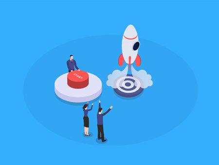 Startup launcing isometric 3d vector concept for banner, website, illustration, landing page, flyer, etc.