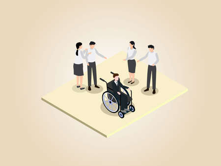 Handicapped businessman being bullied isometric 3d vector concept for banner, website, illustration, landing page, flyer, etc.