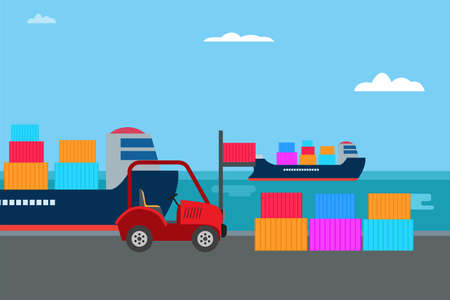 Industrial port vector concept: Forklift lifting container in the industrial port
