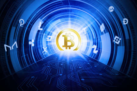 Image of golden bitcoin symbol in futuristic digital circuit board tunnel with code binary background