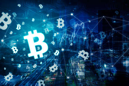 Double exposure of bitcoin symbol with connection network in modern cityscape background