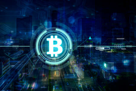 Double exposure of bitcoin symbol with night cityscape in virtual screen background Zdjęcie Seryjne