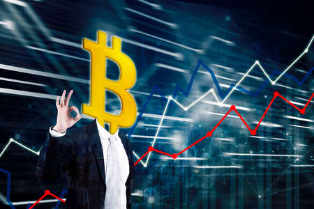 Double exposure of businessman with head of bitcoin showing thumbs up near growth business finance chart background Zdjęcie Seryjne