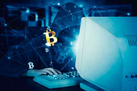 Unknown hacker using a computer to steal information with bitcoin symbol in code binary background Zdjęcie Seryjne - 164460251