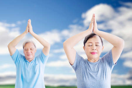 Old couple wearing sportswear while exercising yoga and doing meditation at the park with blue sky background Zdjęcie Seryjne