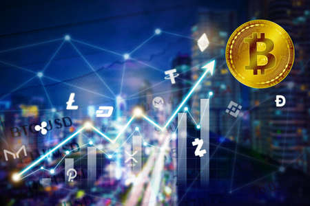 Double exposure of growth cryptocurrency value graph with gold bitcoin symbol in night city background Zdjęcie Seryjne