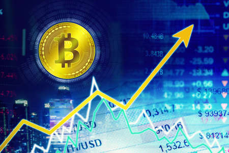Double exposure of growth bitcoin value chart with trade stock exchange background Zdjęcie Seryjne