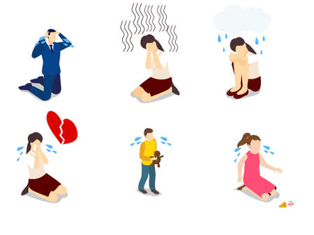 People crying set isometric vector concept for banner, website, illustration, landing page, flyer, etc