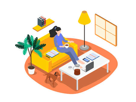 Working from home isometric 3d vector concept for banner, website, illustration, landing page, flyer, etc 向量圖像