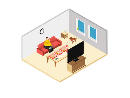 Overweight man working at home while eating pizza and using laptop computer on the sofa. Isometric vector concept