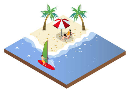 Young man surfing on the beach while his girlfriend using laptop computer while sitting on the chair under umbrella on beach. Isometric vector concept