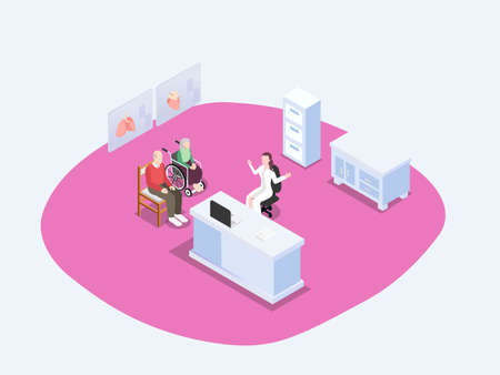 Elderly couple having a consultation with a doctor isometric 3d vector concept for banner, website, illustration, landing page, flyer, etc.