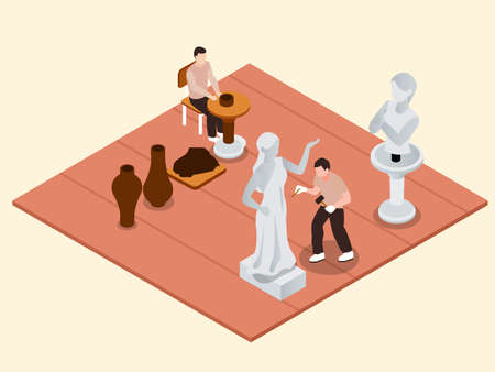 Male sculptor working in studio to make sculpture. Isometric vector concepts