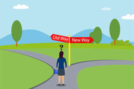 Business choice vector concept: Young businesswoman feeling confused to choose between old way and new way