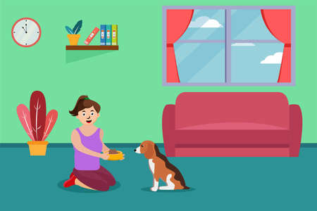 Feeding food vector concept: Young woman giving food to her dog at home while sitting on the floor