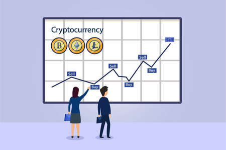 Cryptocurrency vector concept. Two business people analyzing cryptocurrency rate graph with sell and buy indicator on whiteboard